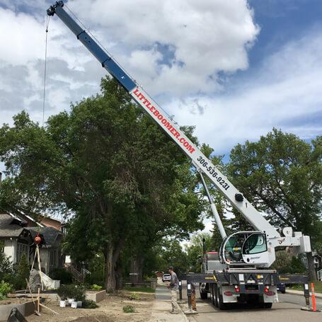 Crane on residential street